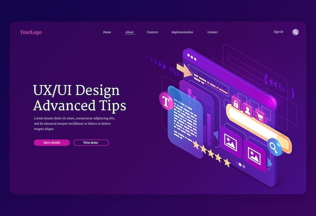 Ui ux design advanced tips isometric landing page.