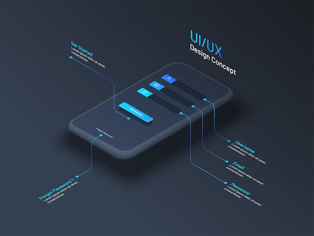 Ui or ux design concept with isometric smartphone.