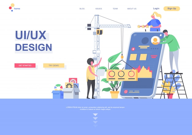 Ui ux design flat landing page template. developers team creating interface of mobile application situation. web page with people characters. responsive design and usability illustration.