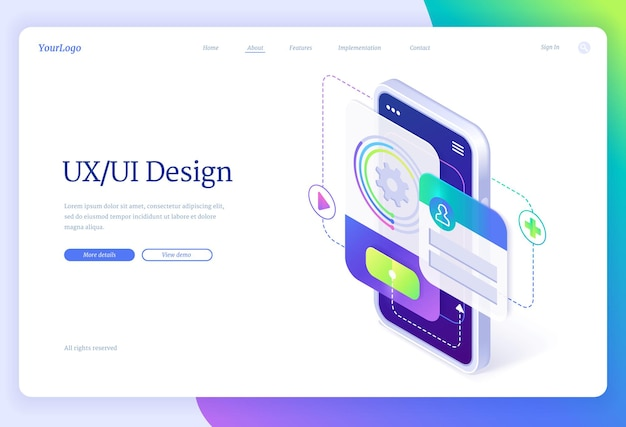 Ui and ux design isometric landing page