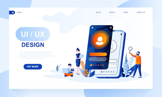 Ui, ux design landing page template with header