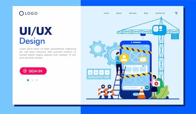 Ui/ux design landing page website illustration template