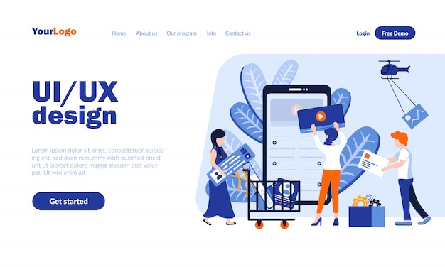 Ui and ux design vector landing page template with header