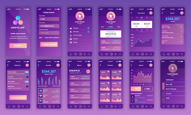 Ui、ux、gui画面のセットcryptocurrency app flat