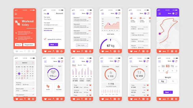 Набор ui, ux, gui экранов фитнес-приложение плоский шаблон
