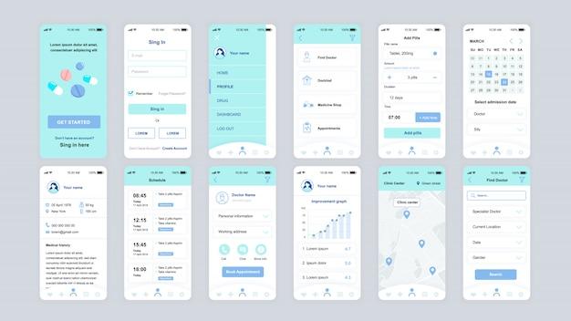 Ui、ux、gui画面のセット医学アプリフラットテンプレート