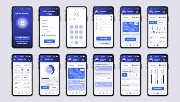 アプリのためのオンラインバンキングのユニークなデザインキット。金融口座と取引確認を備えたモバイルウォレット画面。財務管理ui、uxテンプレートセット。レスポンシブモバイルアプリケーションのgui。