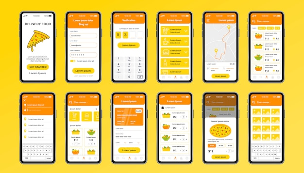 アプリの配信食品ユニークなデザインキット。フードメニュー、注文、支払いが可能なオンラインピッツェリアスクリーン。速達とケータリングサービスui、uxテンプレートセット。レスポンシブモバイルアプリケーションのgui。