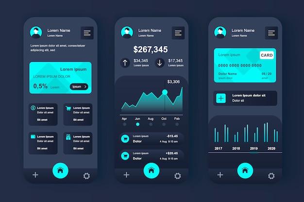 金融サービスは、モバイルアプリ用のユニークなネオモーフィックキットです。チャートと財務分析を備えたオンラインバンキング画面。財務管理ui、uxテンプレートセット。レスポンシブモバイルアプリケーションのgui