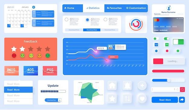 Ui、uxキットモバイルアプリ、ウェブサイトのデザインテンプレート。