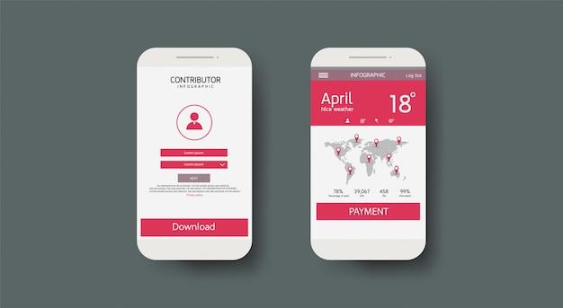 Ui, ux, мобильные приложения, экраны и плоские веб-иконки, адаптивный веб-сайт, включая