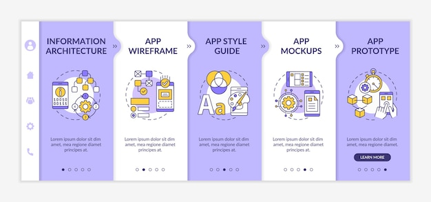 Ui and ux  steps on boarding  template. information architecture. app wireframe.