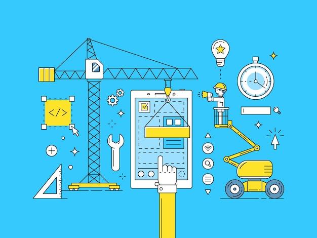 Processo di sviluppo di app per dispositivi mobili di linea sottile ui ux. costruzione di illustrazione di web design