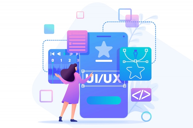 若い女性は、モバイルアプリケーションのカスタムデザイン、ui uxデザインを作成します。フラットなキャラクター。 webデザインのコンセプト