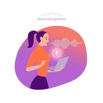 フラットパーソナルオンラインアシスタントの図。ラップトップマイク動的アイコン、音波とオフィスの女の子。 ui、ux、モバイルアプリ、音声認識ランディングページデザインのwebサイトのコンセプト。