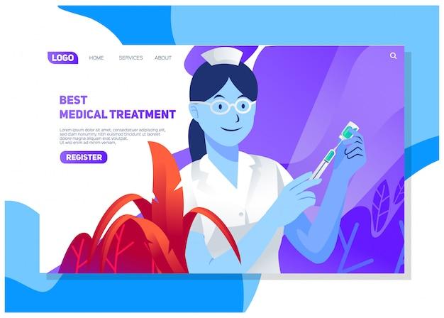 医師や看護師とのさまざまな病院サービス、最高の治療、生命保険、健康保護uiおよびuxのwebサイトのランディングページのデザイン
