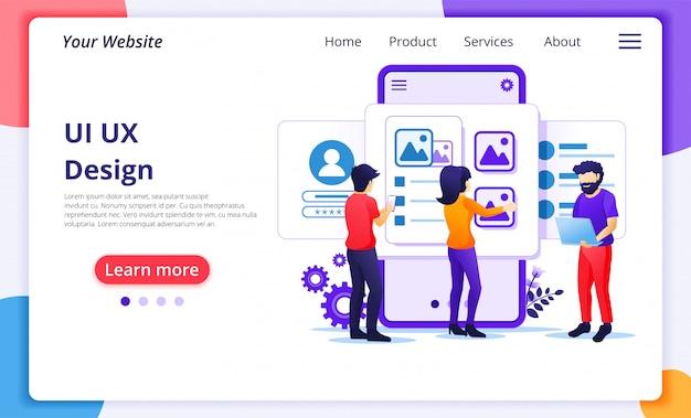 アプリケーションのコンセプト、人とコンテンツのテキストの場所、ui uxデザインの作成。ウェブサイトのランディングページテンプレート