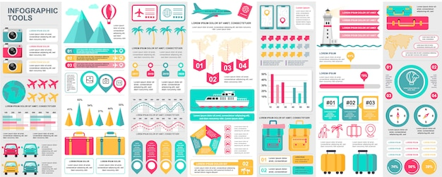 バンドル旅行インフォグラフィックui、ux、チャート、図、夏休み、フローチャート、キット要素、旅行タイムライン、旅アイコン要素テンプレート。インフォグラフィックセット。