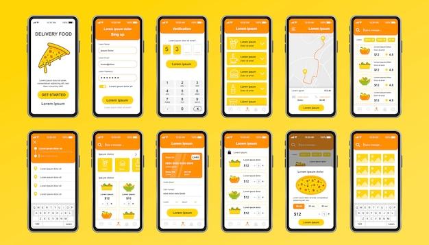 Доставка еды уникальный дизайн комплект для приложения. онлайн-пиццерия с экранами меню питания, заказа и оплаты. экспресс-доставка и кейтеринг ui, набор шаблонов ux. графический интерфейс для отзывчивого мобильного приложения.