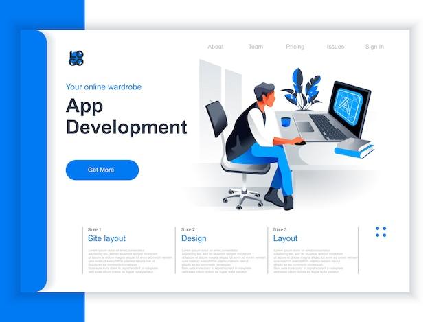 アプリ開発等尺性ランディングページ。プログラマーがオフィスでコンピューターを操作します。 ui、uxレスポンシブデザイン、アプリケーションプログラミング、クロスプラットフォームコードパースペクティブフラットデザインのテスト。