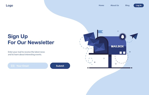 Ui web page template design of email marketing for subscription to newsletter