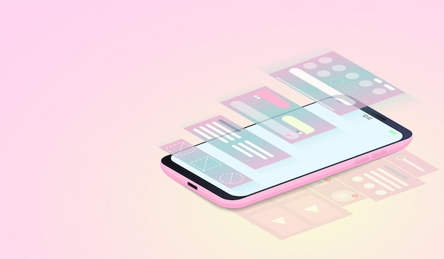 等尺性のスマートフォン上のuiデザインとwebデザイン