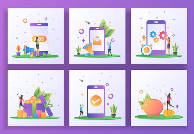 フラットなデザインコンセプトのセット。広告、デジタルマーケティング、モバイルアプリの更新、ポイントの獲得、アプリケーションチェック、お金の節約。 、ui、アプリ