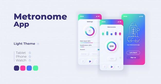 メトロノームアプリケーション漫画スマートフォンインターフェイステンプレートセット。モバイルアプリの画面ページの日モードのデザイン。アプリケーションの音量とリズムの設定ui。フラットな文字の電話ディスプレイ。