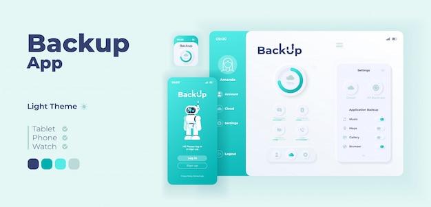 バックアップアプリ画面のアダプティブデザインテンプレート。フラット文字を使用したクラウドストレージアプリケーションのデイモードインターフェイス。パーソナルインターネットデータベーススマートフォン、タブレット、スマートウォッチ漫画ui