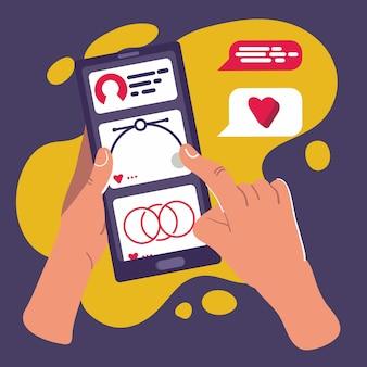 スマートフォン画面のソーシャルメディアuiに触れる手