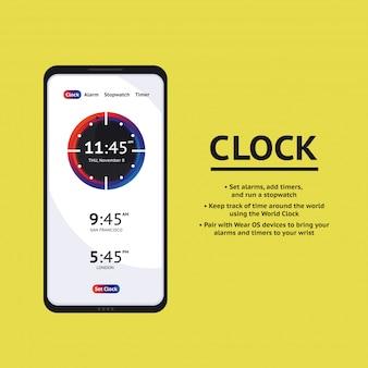 タイマークロックモバイルアプリケーションインターフェイス。アラームストップウォッチタイマーui携帯電話。