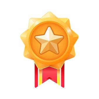 勝者のメダル。ゲームuiのゴールドリワードメダル。プレミアム