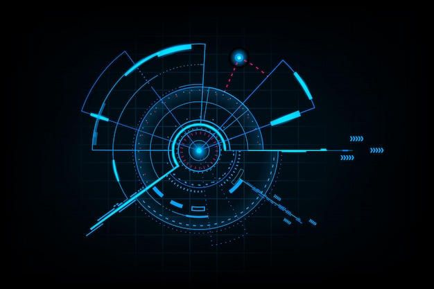抽象技術未来インターフェース。デジタルuiの要素