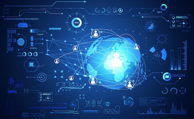 テクノロジーui未来的な概念世界デジタルハドインターフェース