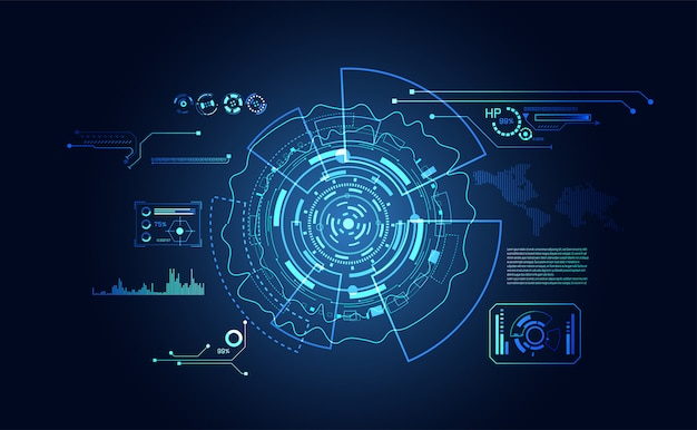 抽象的なテクノロジーのui未来的なハッドインターフェイスホログラム要素