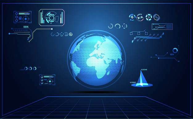 抽象技術ui未来世界ハッドインターフェイスホログラム