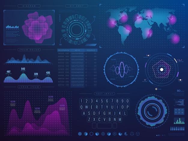 未来的なハッドインターフェイス。インフォグラフィック要素を持つ科学未来技術ベクトルui