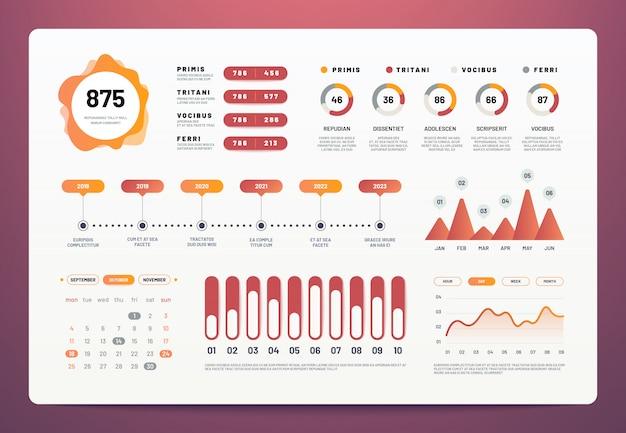 インフォグラフィックダッシュボード。統計グラフ、円グラフ、ワークフロー情報グラフを備えた最新のui。