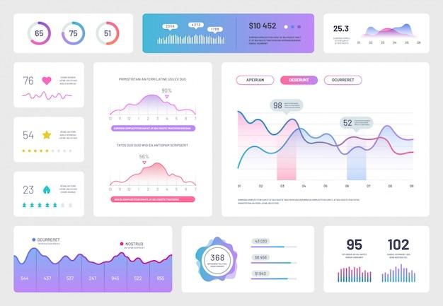 インフォグラフィックダッシュボードテンプレート。最新のuiインターフェイス、グラフ、チャート、図を含む管理パネル。分析レポート