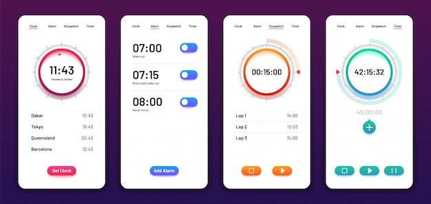 クロックユーザーインターフェイス。アラームストップウォッチタイマーui携帯電話。時間アプリの設計