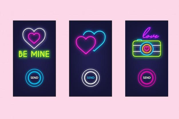 ネオンの輝きで設定されたモバイルアプリが大好きです。バーチャル愛。 uiデザイン。