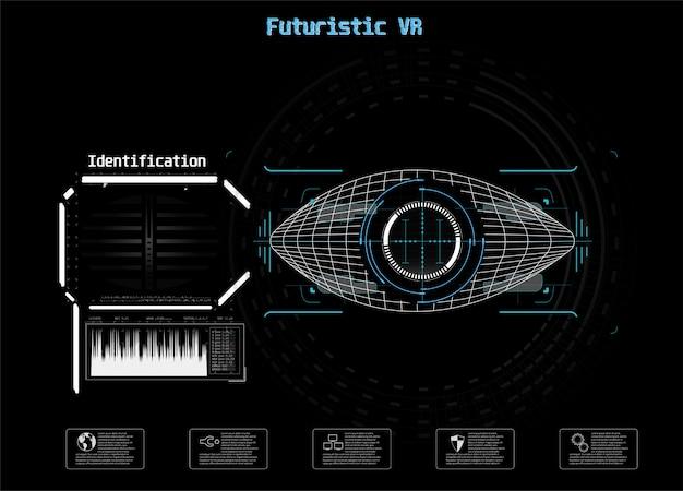 青のアイコン。デジタルアイハッドui。 。医学の図。目のアイコン。未来的な技術スタイル。識別システムのスキャン。
