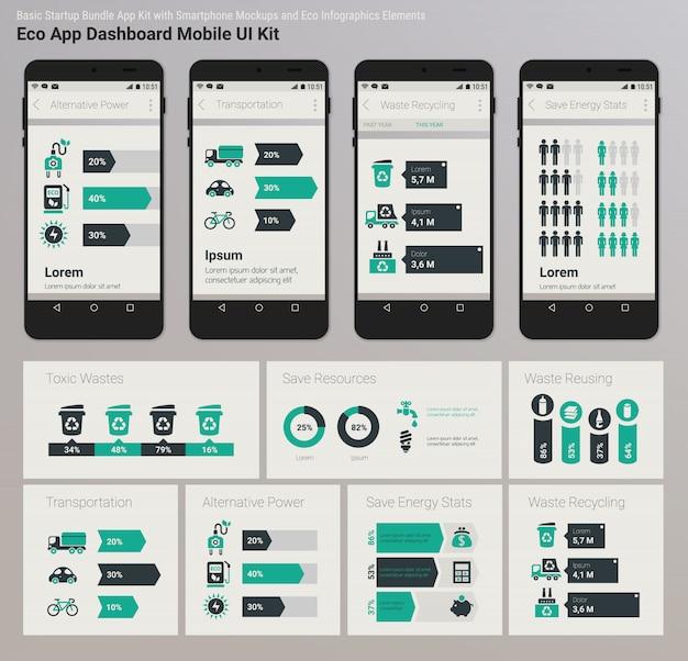 フラットデザイン管理ダッシュボードエコ新エネルギーインフォグラフィックuiモバイルアプリ