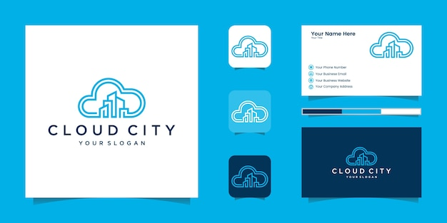 Uildingクラウドロゴデザインコンセプト。クラウドシティのロゴと名刺