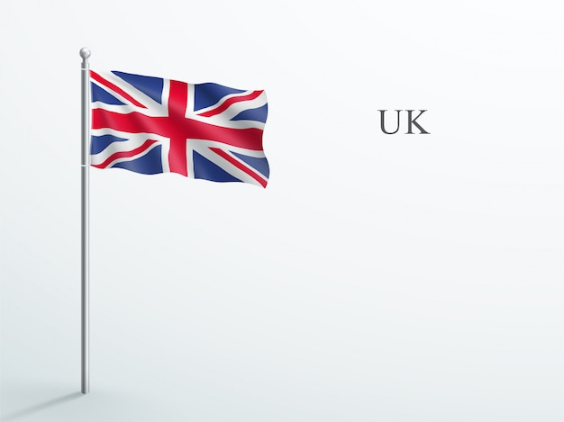 Uk flag 3d element waving on steel flagpole