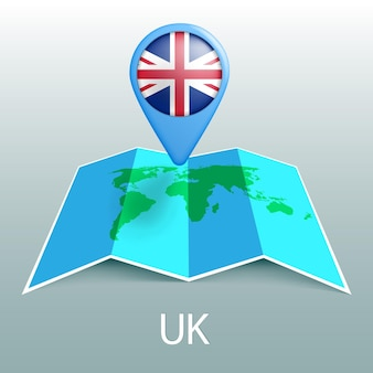 Uk flag world map in pin with name of country on gray background