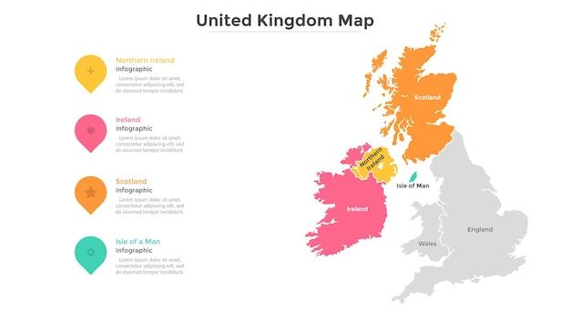 英国の地図は、現代の国境を持つ州または地域に分割されています。地理的な場所の表示。インフォグラフィックデザインテンプレート。プレゼンテーション、パンフレット、観光ウェブサイトのベクトルイラスト。