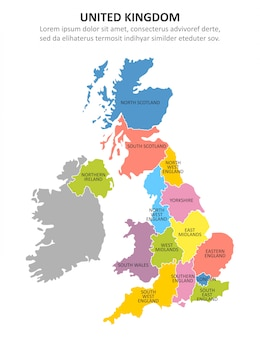 Uk multicolored map with regions.