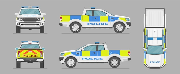 Uk pickup truck. english police car from different sides. cartoon car in flat style.