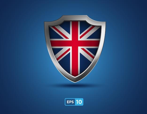 파란색 배경에 영국 방패